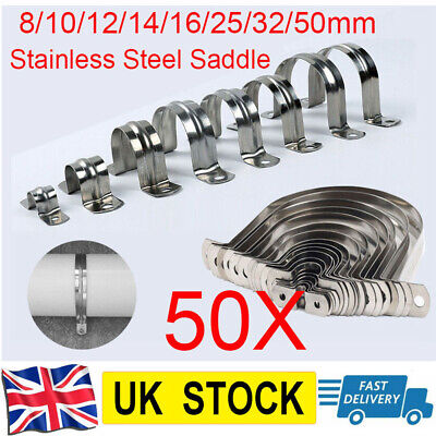 £9.69 • Buy Stainless Steel Tube Clip Clevis Brackets Plumbing Pipe 8-50mm Saddle DIY 50pcs