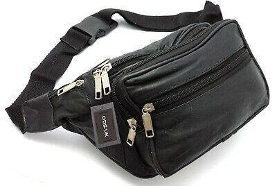 £5.45 • Buy Large Real Leather Bum Waist Bag Travel Holiday Money Belt Pouch Change Bumbag