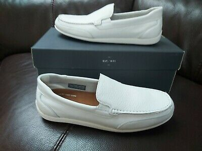NEW Mens Rockport White Leather Venetian Loafers UK Size 9 Free Shipping • 70£