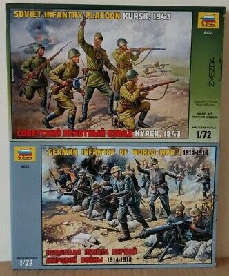 2 Boxes Of Zvezda 'Infantry' 1:72 Scale Unpainted Figures  NEW • 18£