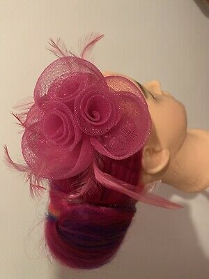 Wallis Fascinator Pink Flowers Feather Wedding Formal Races Clip In • 9£
