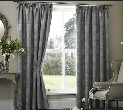 PALERMO SCROLL SILVER GREY  THERMAL BLOCK OUT CURTAINS 66x90 INCHES  TAPE TOP • 32.99£
