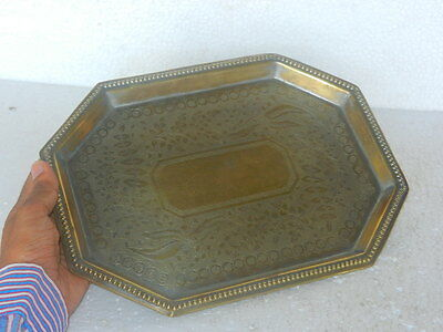 £37.49 • Buy Old Brass Unique Shape Inlay Engraved Tray / Plate, Rich Patina