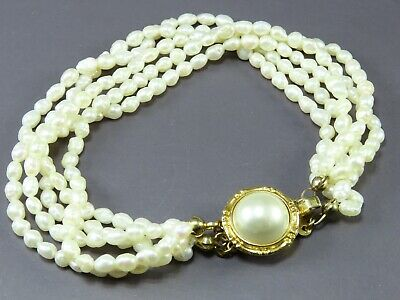$16.20 • Buy Vintage 5-STRAND RICE PEARLS BRACELET Gold Tone FAUX MABE PEARL CLASP White