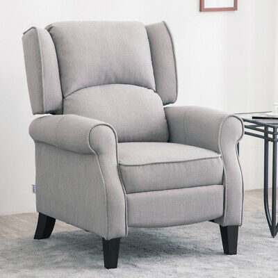 £219.95 • Buy Fabric Recliner Armchair Occasional Wing High Back Chair Grey Sofa Sleeper Seat