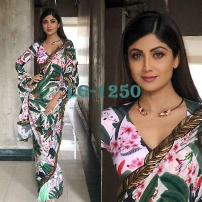 Saree Heavy Georgette With Print And Embroidery Lace Work Designer Wedding Sari  • 25.82£