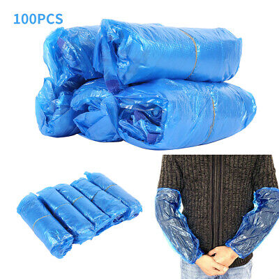 100pcs Disposable Plastic Long Arm Sleeves Cover Cleaning Oversleeves Protective • 7.59£