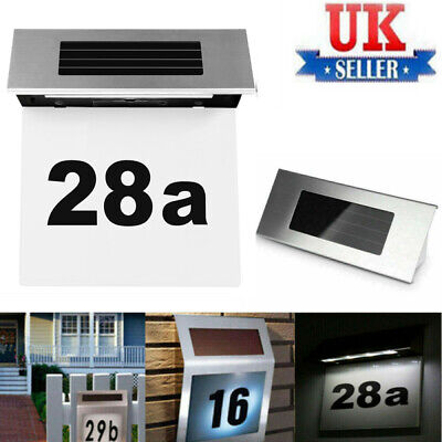 £8.98 • Buy Solar Powered House Door Number Wall Plaque Name Doorplate 4 Led Light Wall Sign