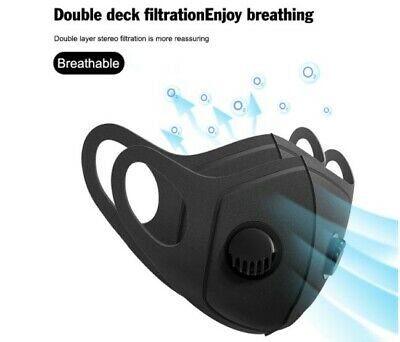 Face Mask Washable Reusable Anti Pollution PM2.5 Two Air Vent With Filter  • 4.95£