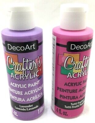 Deco Art Crafters Acrylic Paint Lavender & Tutti Fruitti 4oz Each Made In USA • 10.12£