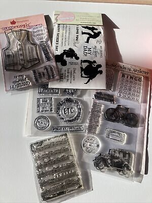 Bundle Of Clear Stamps. Men Themed Including Tim Holtz /Woodware. Set M • 9.95£
