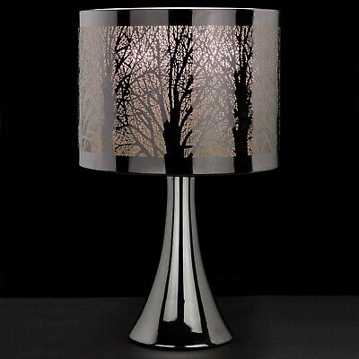 New Silver Chrome Tree Scene Touch Pad Table Lamp Light Bedside Lounge Bedroom • 27.95£