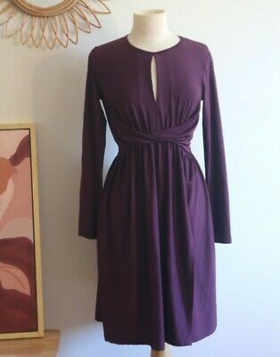 AU20 • Buy Asos Purple Plum Dress Size 12, Stretchy Twist, Long Sleeve