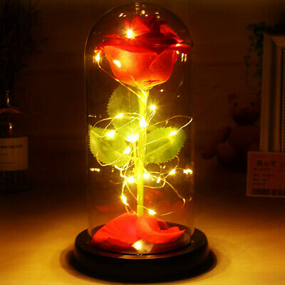 £9.99 • Buy Light-Up Glass Red Rose Wedding Birthday Christmas Gift For Her Him GF BF Wife