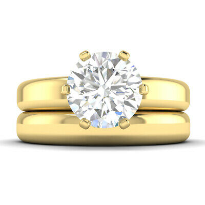 AU11113.54 • Buy 2.05ct F-VS2 Diamond Wide Engagement Ring 14K Yellow Gold ANY SIZE