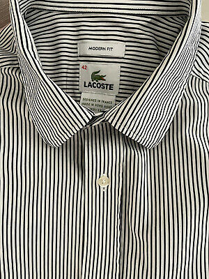 LACOSTE Men's White/ Blue Striped.  Worn Once, Great Condition • 2£