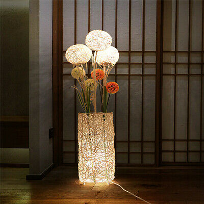 Handmade Rattan Lamp Floor Standing Flower Light Wicker Style Ball Tree Lantern • 73.97£