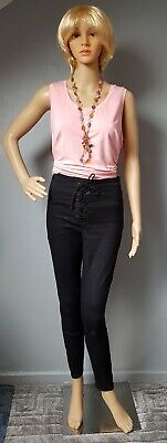Ladies Black Skinny Lace Up Jeans  - Size 10 • 3.49£