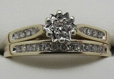 AU594 • Buy SOLID 9CT YELLOW GOLD NATURAL DIAMOND ENGAGEMENT & WEDDING 2 X RING SET - SIZE T