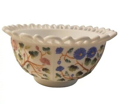 $20 • Buy Lace Edge, Hand Painted, Milk Glass Bowl