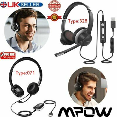 Mpow 071/328 USB 3.5mm Wired Headset Stereo Headphones Mic For Skype PC Computer • 23.39£