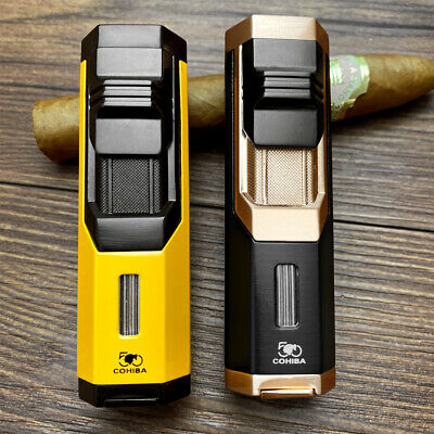 New COHIBA Jet Flame Portable Butane Torch Cigar Lighter & Punch Metal Windproof • 24.37£