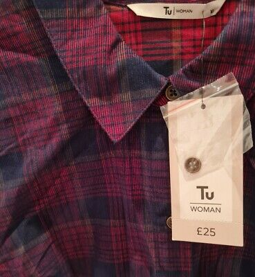 BNWT Ladies Corded Shirt Dress Size 10 Real Button Up & Tie Waist • 16.99£