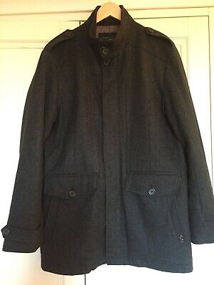 "Mens Atlantic Bay Lined Wool Blend Coat Grey Size M 36-40""chest • 17.99£"