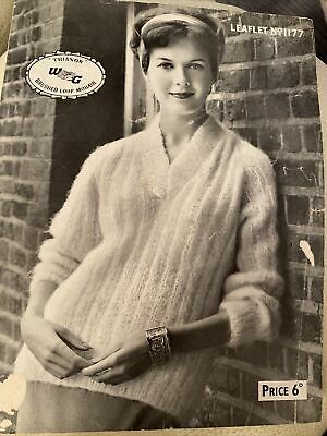 "Vintage Knitting Pattern No  1177 Mohair Sweater Ladies 36-38"" • 0.99£"