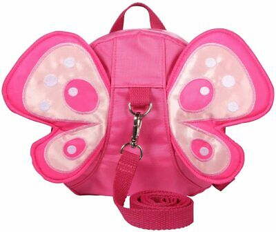 Pink Girls Safety Walking Reins Backpack Kid/Toddler Harness Wings Butterfly Bag • 12.99£