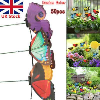 50pcs Colorful Garden Butterflies Stakes Patio Home Ornaments On Stick Lawn #D01 • 7.75£