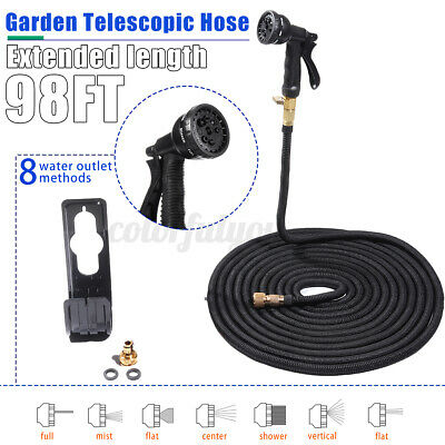 100FT Expandable Water Hose Pipe 8 Gun Nozzle Flexible Garden Car Wash Spray Kit • 21.86£