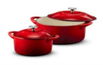 $ CDN76.12 • Buy Tramontina Enameled Cast Iron Dutch Oven 2 Pans - 7 Quart And 4 Quart Red