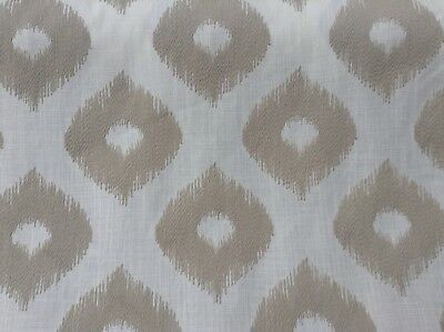 Austin Natural Stone Embroidered Linen 140cm Wide Curtain/Upholstery Fabric • 19.99£