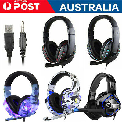 AU28.96 • Buy 3.5mm Gaming Headset W/MIC LED Headphones For PS4 Xbox One Nintendo Laptop PC AU