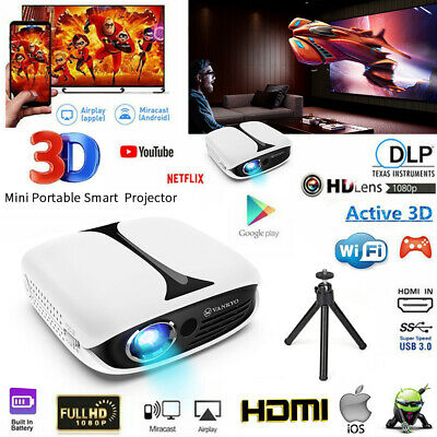 VANKYO Burger 101 DLP Mini Rechargeable Projector HD 1080P 3D Support HDMI WIFI • 165£
