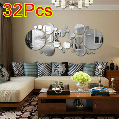 32X 3D Home Mirror Tiles Mosaic Wall Stickers Self Adhesive Bedroom Art Decal UK • 5.94£