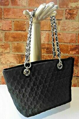 £20 • Buy Jaeger Textile Quilted Small Shoulder Bag Silver Chain Handles Top Zip