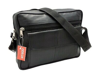 Ods:uk® Mens Real Leather Travel Shoulder Man Bag Cross Body Messenger • 7.95£
