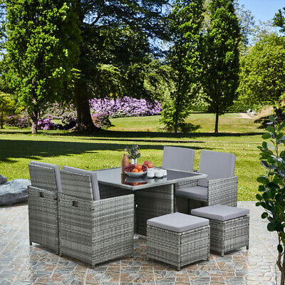 £799 • Buy Deluxe 9 Piece 8 Seater Rattan Cube Dining Table Garden Furniture Patio Set