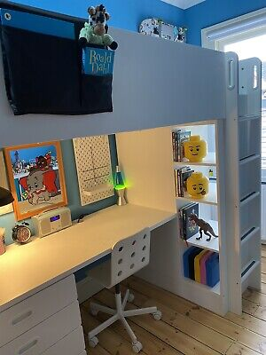 IKEA Smastad White Kid's Loft Bed With Desk, Wardrobe, Shelves, Mattress & Chair • 180£