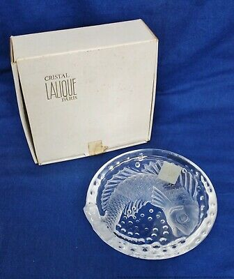 Large Vintage Boxed Lalique 6.5in Crystal Cigar Ash Tray French Art Glass Koi • 14.54£