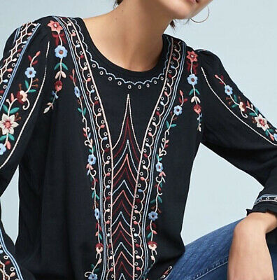 $ CDN75.67 • Buy Anthropologie Floral Embroidered Wesley Blouse Size XS Linen Blend NWT