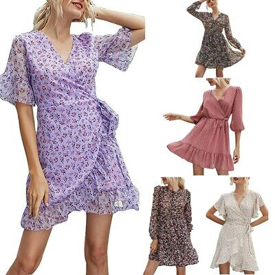 Women Floral Short Sleeve Wrap Dress Ladies Sundress Holiday Summer Midi Dresses • 13.97£