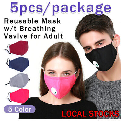3pcs Cotton Face Mask Protective Covering Washable Reusable Unisex Pm2.5 Filter • 3.99£