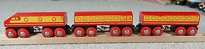 BRIO 33418 Vintage Red Diesel Engine Train With Two Coaches Wooden Railway Sets • 2.70£