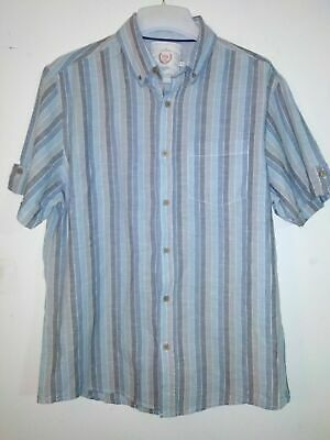 BHS Atlantic Bay Blue Striped Short Sleeved Button Up Shirt Size M • 6.99£