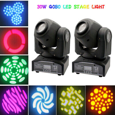 2X LED Moving Head Stage Lighting GOBO RGBW DMX SpotLight DJ Disco Party 30W • 125.99£