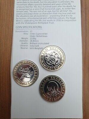 2016 £2 Full Set William Shakespeare Two Pounds BU BUNC From Annual Coin Set • 11.50£
