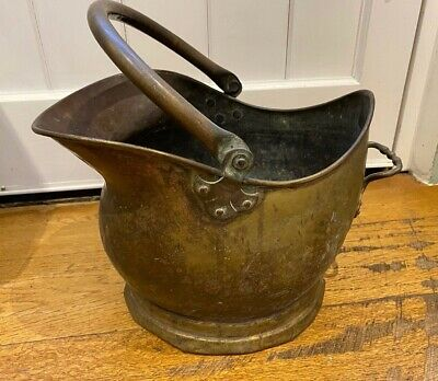 Vintage Brass Coal Scuttle Kindling Bucket, Aged Patina • 22£